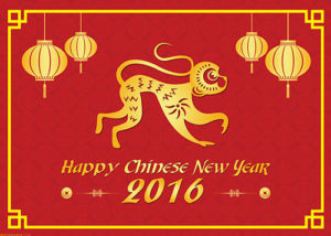 Happy Chinese new year 2016 fire monkey